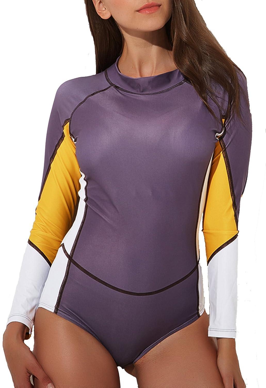 SEASUM Costume da Bagno Tankini Rashguard Surfing Maniche Lunghe Un Pezzo Bikini Donna
