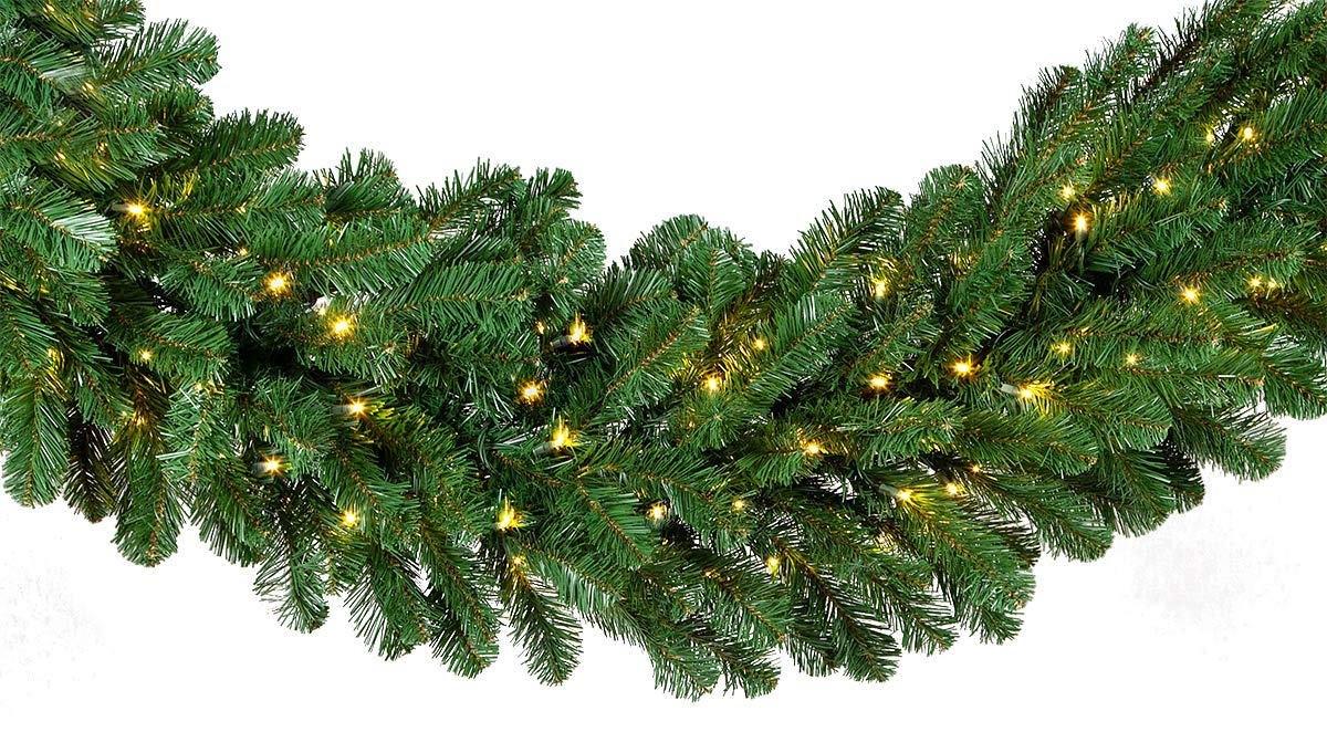 """Red Sleigh Oregon Fir Commercial Grade Holiday Wreaths with Matching Christmas Garland Greenery (20"""" x 9 ft Garland, Warm White LED Lights)"""