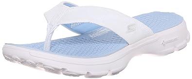 319177403 Skechers Women s s Go Walk Nestle Flip Flops White (Wlbl) 3 UK