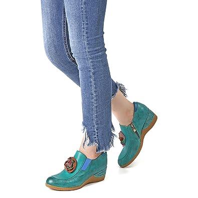 gracosy Mocasines de Mujer Wedge Merceditas Planos de Cuero cómodos Planos para Mujer Zapatos Flores Slip-on, Plataforma Zapatos de conducción de Verano ...