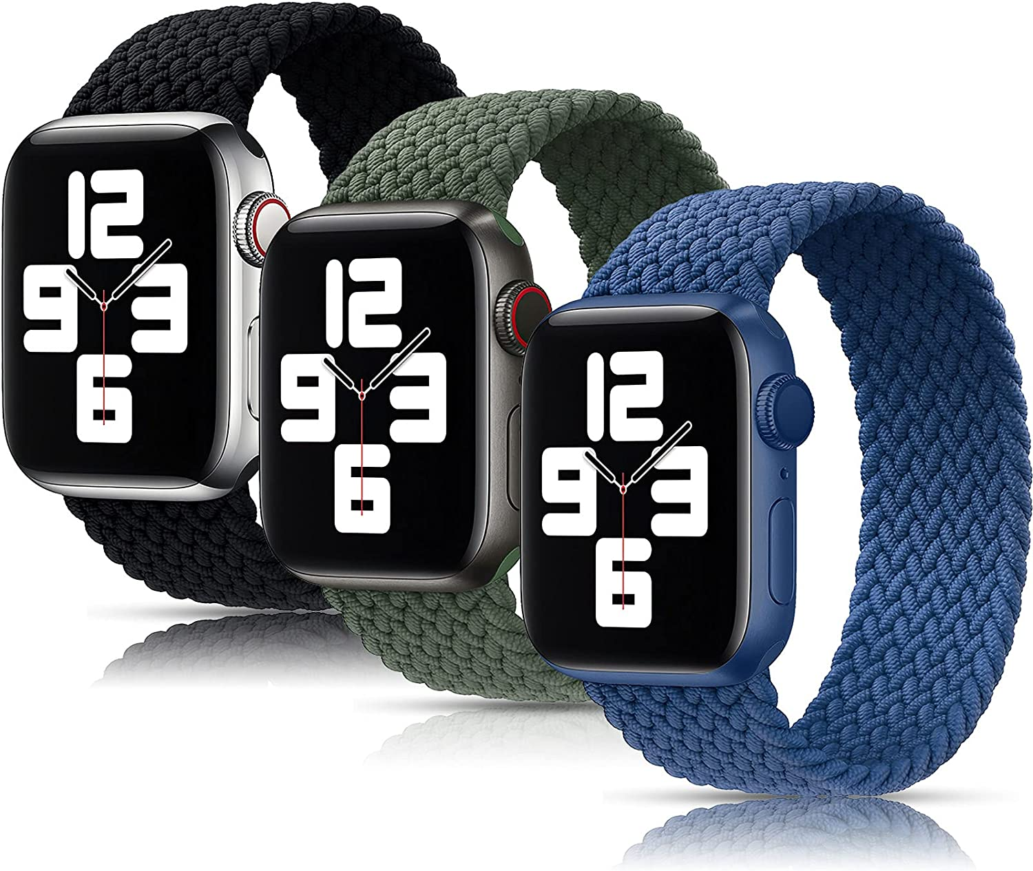 Girovo 3 Packs Solo Loop Strap Compatible with Braided Sport Apple Watch Band 42mm 44mm, Soft Stretchy Braided Wristband for iWatch Series 1/2/3/4/5/6/SE, Charcoal/Green/Blue, XL