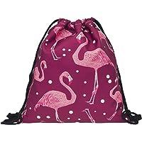Ababalaya 3D Print Drawstring Backpack Rucksack Shoulder Bags Gym Bag, Pink Flamingo