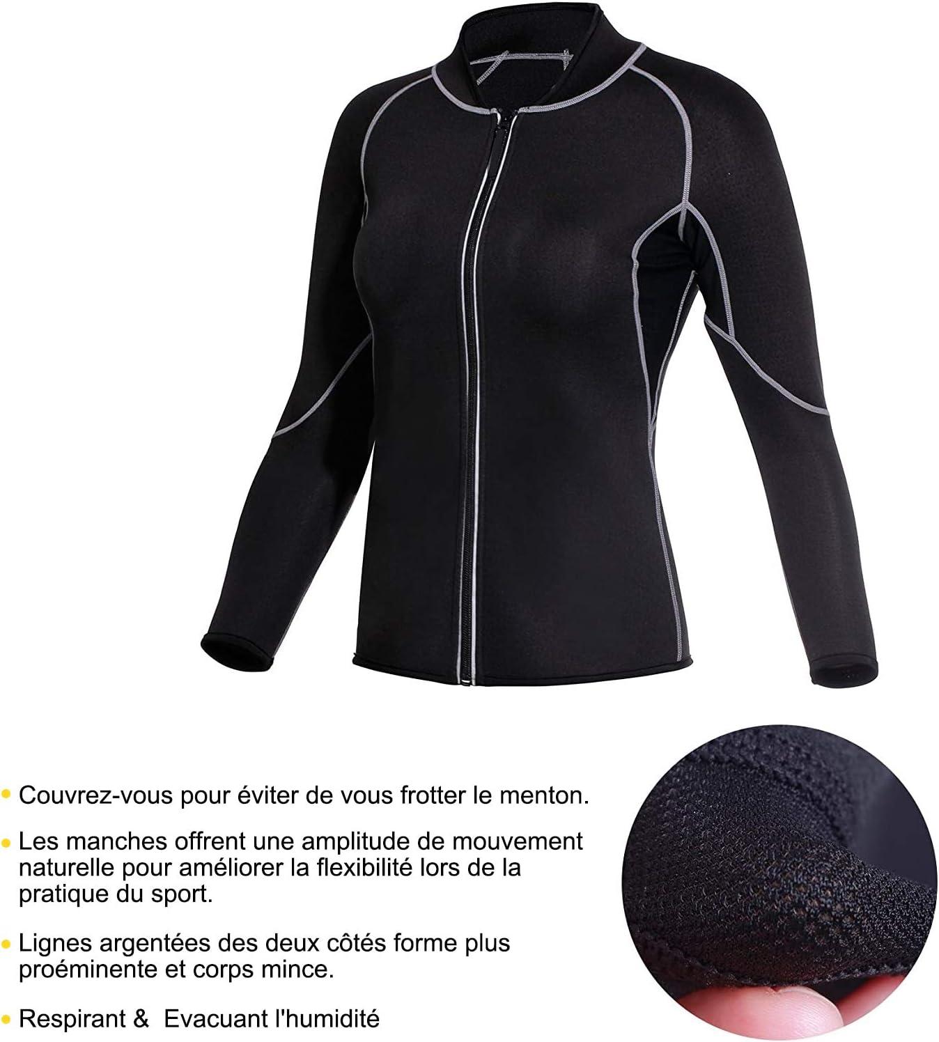 Junlan Manches Longues Zipp/é de Sudation pour Femme Ventre Plat Minceur pour Perdre du Poids Fitness Sport Amincissant N/éopr/ène Sauna Veste