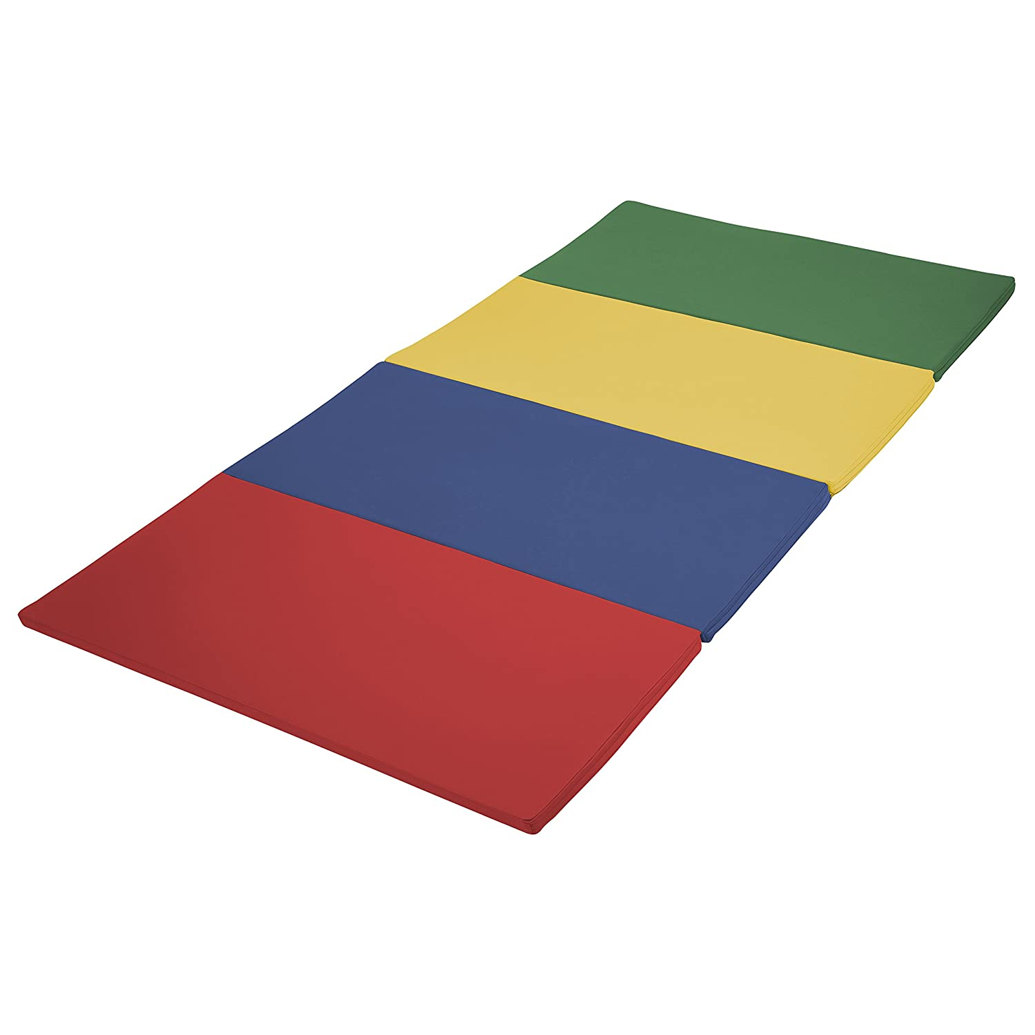ECR4Kids SoftZone Folding Kids Tumbling Exercise Mat, 4 x 4 Feet, 1.5 Inches Thick, Assorted ECR4KIDS Education ELR-12204-AS