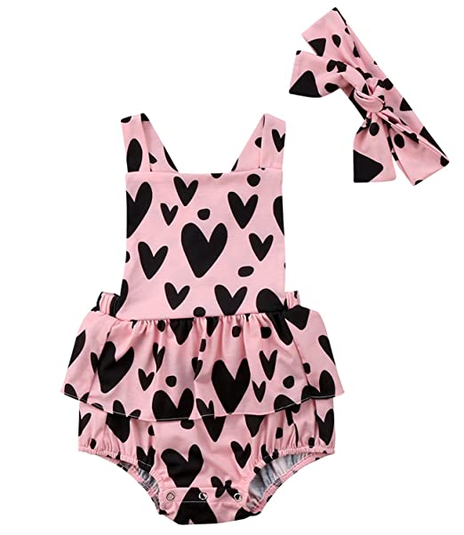 e47828b56306 Opperiaya Baby Kids Girl's Floral Print Ruffles Romper Outfits Summer  Clothes With Headband (Pink,
