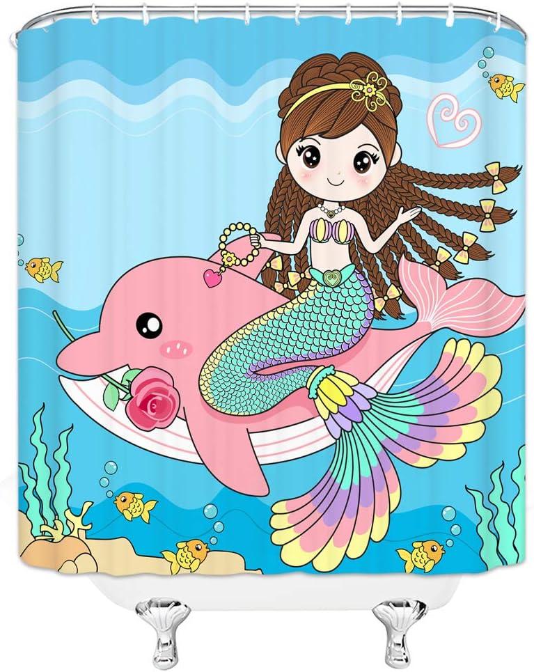 Ftenda Dan Three-Piece Toilet Seat Pad Custommermaid Illustration of Cute Little Mermaid On Top of A Big Wave in The Surf with Fish Kids Multi