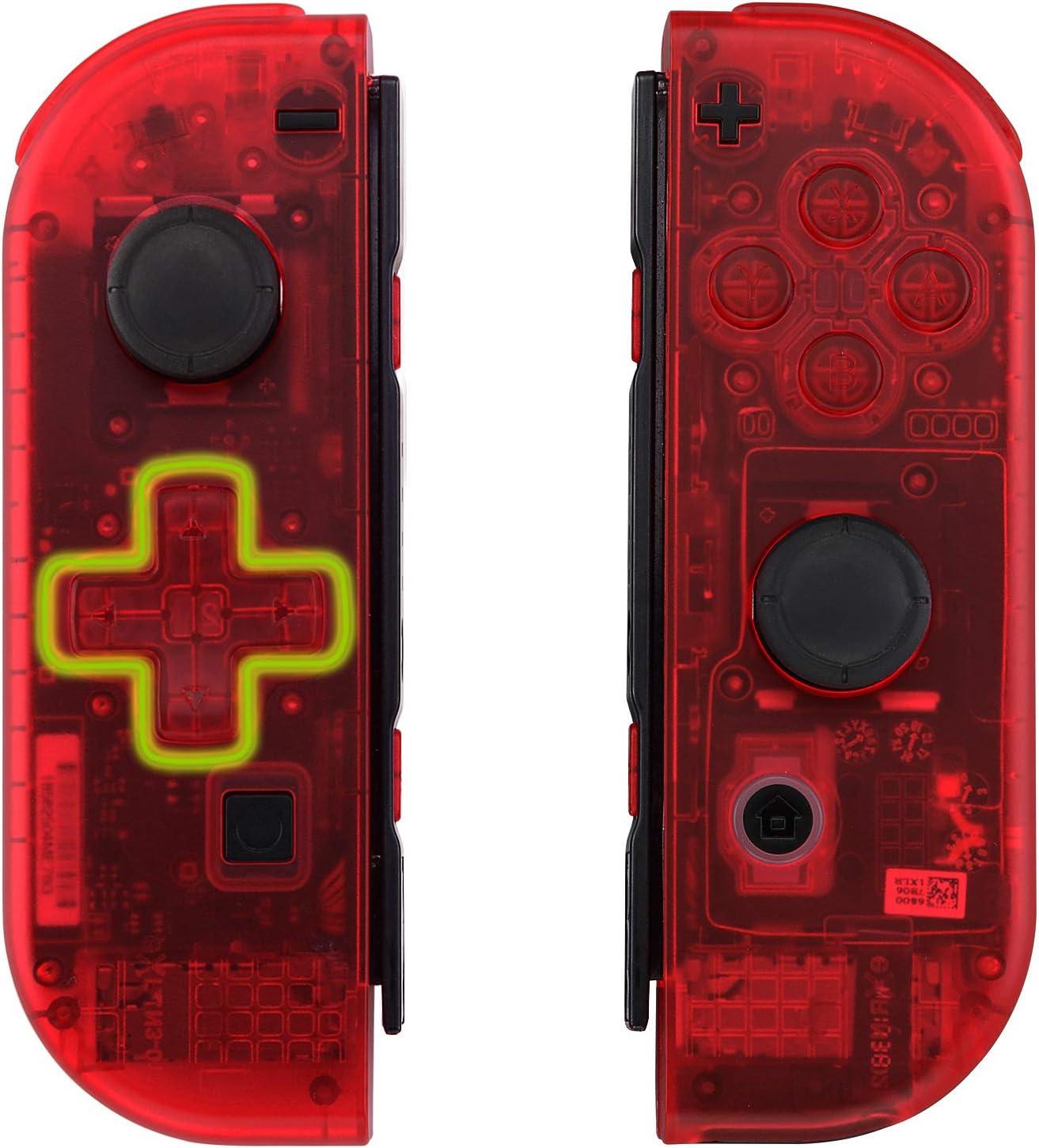eXtremeRate Carcasa Transparente Rojo(D-Pad Versión) para Joy-con ...
