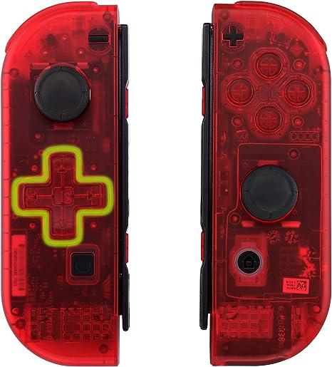 eXtremeRate Carcasa Transparente Rojo(D-Pad Versión) para Joy-con de Nintendo Switch Funda de Agarre Reemplazable Joycon Shell con Botón Completo para Nintendo Switch-No Incluye Carcasa de Consola: Amazon.es: Electrónica