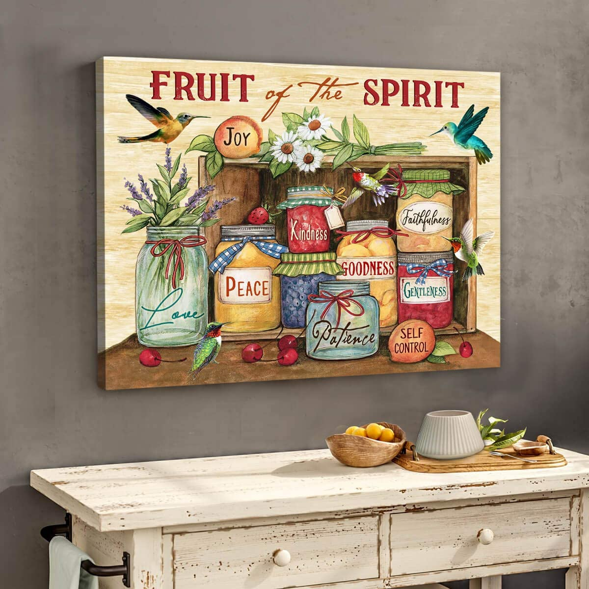 Fruit of the spirit Hummingbird Canvas Wall Art Decor 0.75 Inch Frame Canvas Art Gifts For Christmas, Birthday, Valentine's Day Thanksgiving Canvas Home Decor (24 in x 32 in)