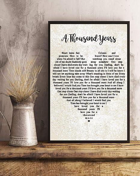 Amazon De Gehua06 Songtext Mit Rahmen A Thousand Years Lyrics Poster Print Dercor Fur Zuhause Buro
