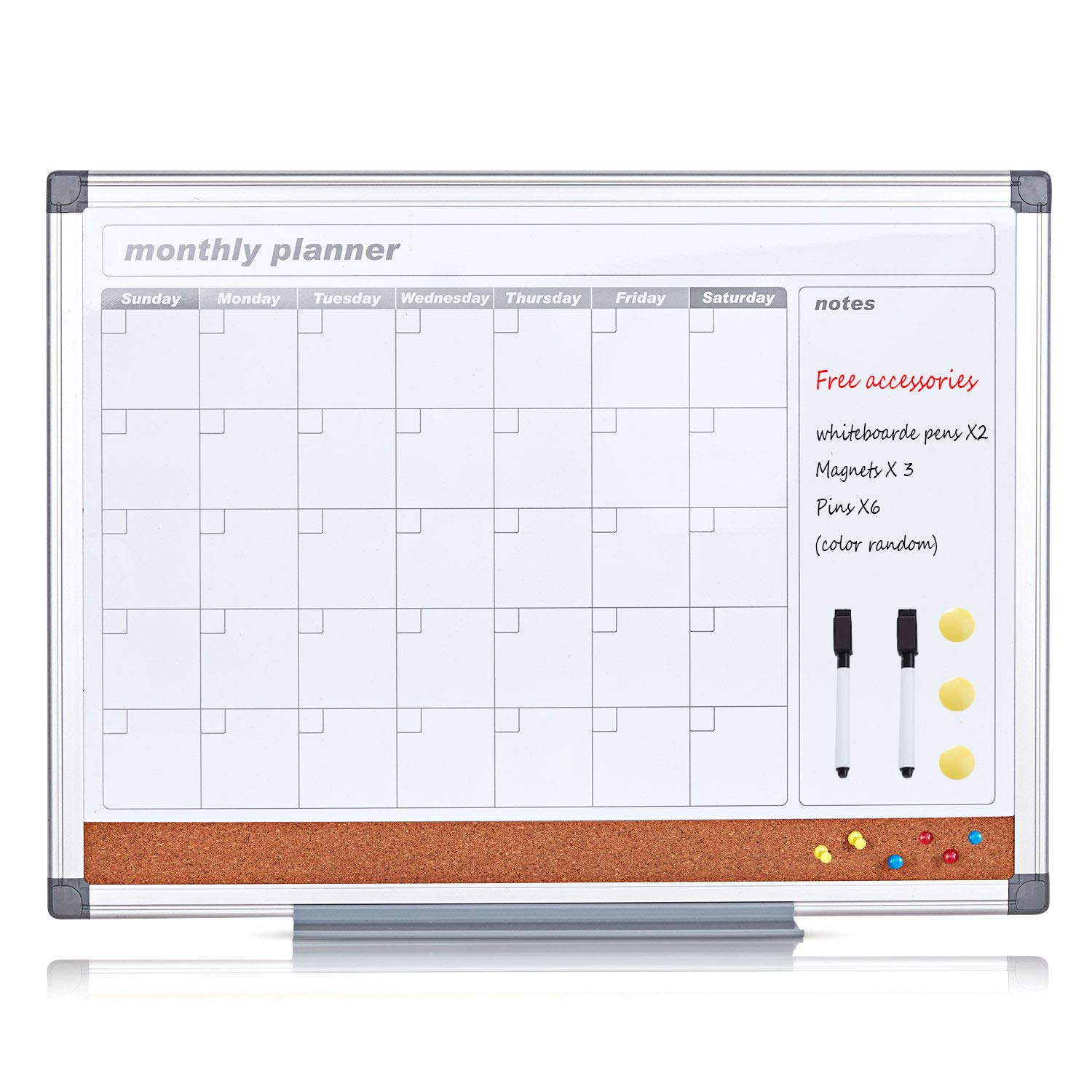 MAKELLO Combination Board Dry Erase Monthly Calendar Whiteboard for Office, Classroom, Kitchen and Bedroom, 24x18 inches