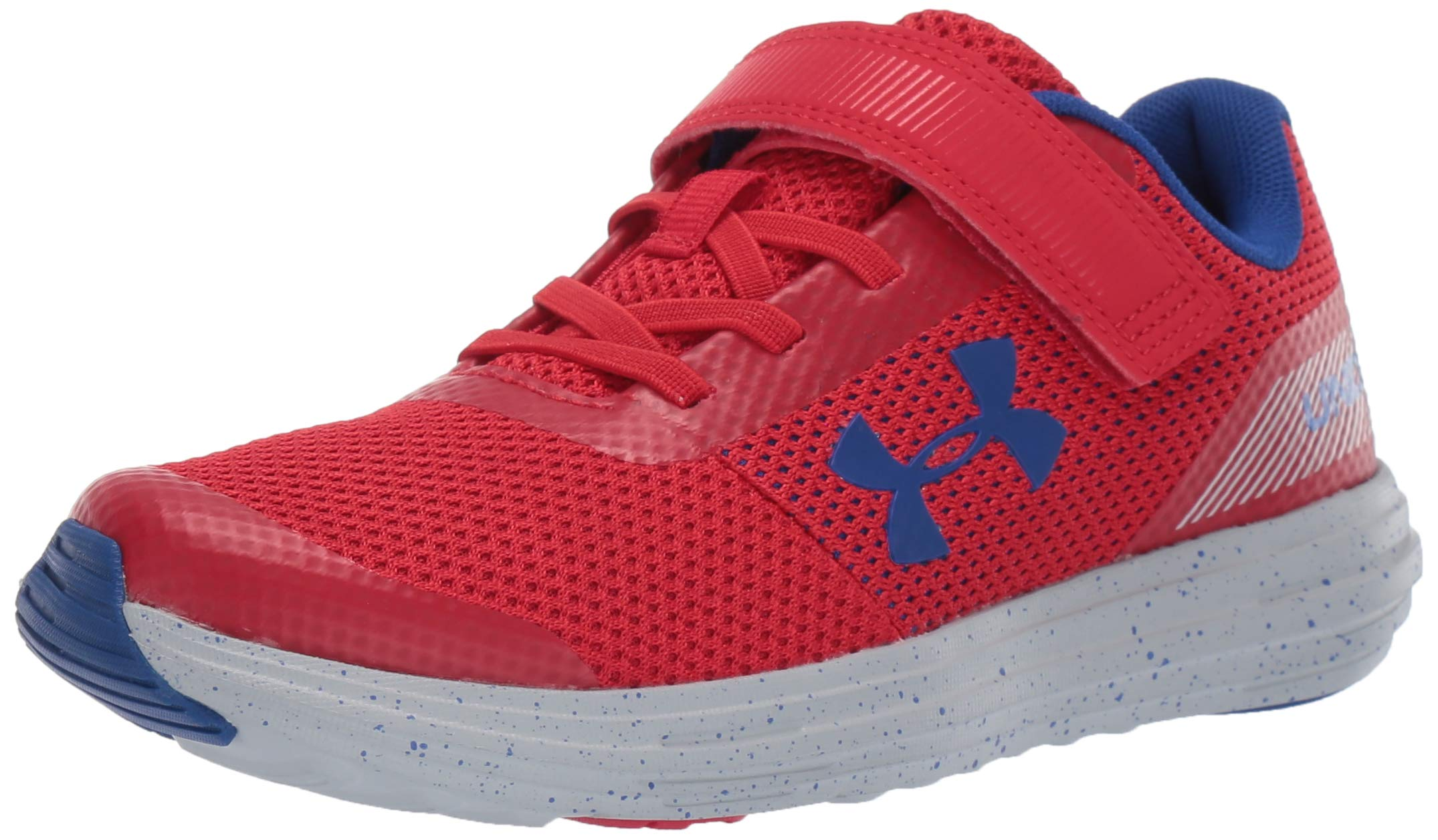 Under Armour Boys' Pre School Surge RN Alternate Closure Sneaker, Red (602)/Mod Gray, 1