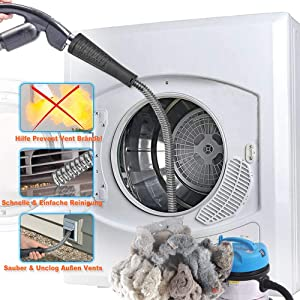 PetOde Dryer Vent Cleaner Kit Dryer Vent Vacuum Attachment Lint Remover Power Washer and Dryer Vent Vacuum Hose Dryer Vent Cleaning Kit Fast Remove Lint