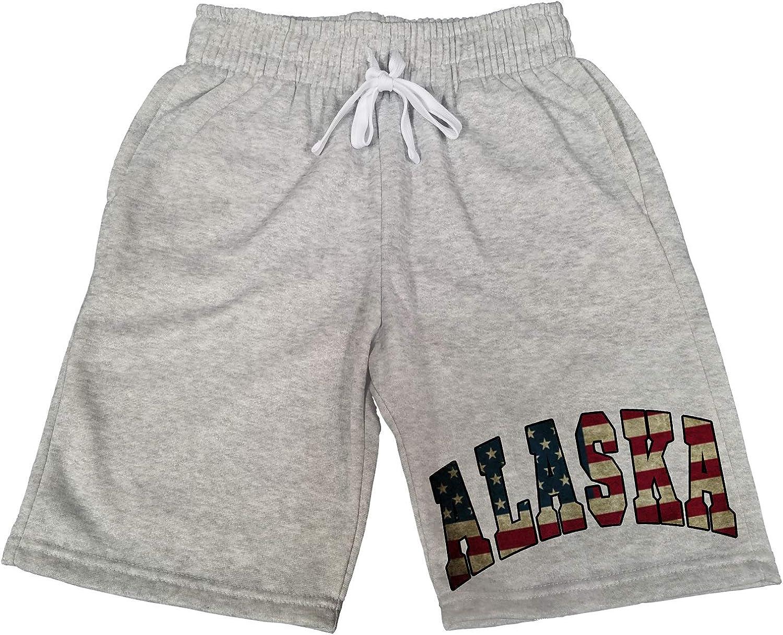 Mens Alaska USA Flag B1547 Gray Fleece Jogger Sweatpants Gym Shorts