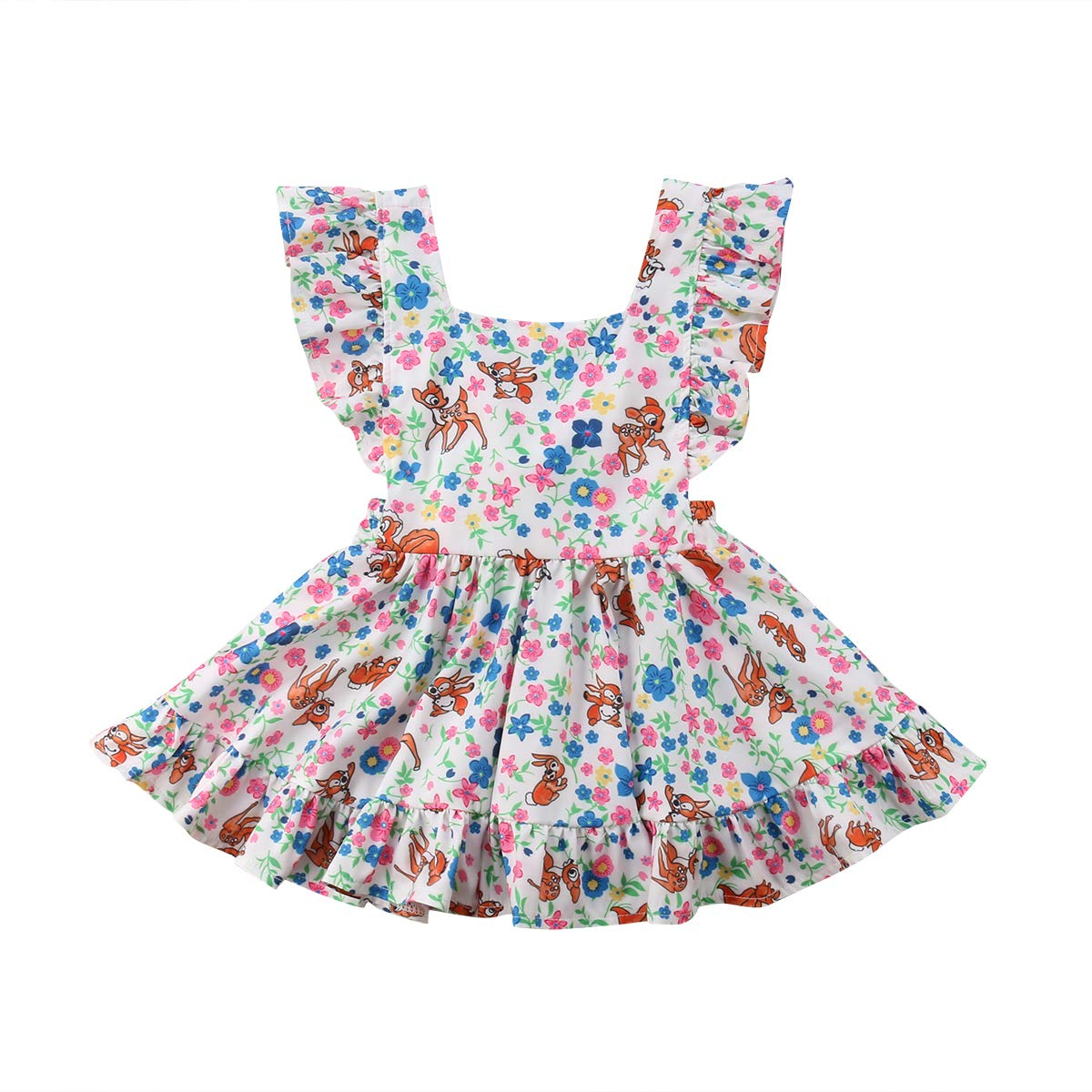 West Sweety Baby Girls Toddler Girls Ruffle Sleeve Floral Print Animal Print Dresses Cute Princess Dresses