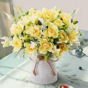 LESING Artificial Flowers with Vase Fake Silk Flowers in Vase Gardenia Flowers Decoration for Home Table Office Party (Champagne)