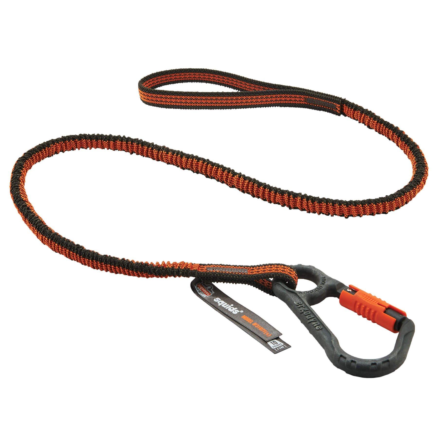Ergodyne Squids 3107F(x) Shock Absorbing Tool Lanyard with Nylon Composite Locking Carabiner, 10 Pounds