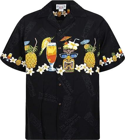 Pacific Legend | Original Camisa Hawaiana | Caballeros | S - 4XL | Manga Corta | Bolsillo Delantero | Estampado Hawaiano | Cóctel | Piña | Negro: Amazon.es: Ropa y accesorios