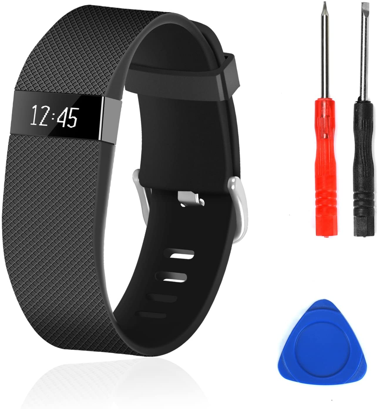 Black Replacement Wristband Band Strap Tool Kit for Fitbit Charge HR Small//Large