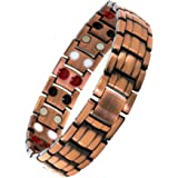Reevaria Mens Elegant Pure Copper 4 in 1 Magnetic Therapy Bracelet Pain Relief for Arthritis and Carpal Tunnel