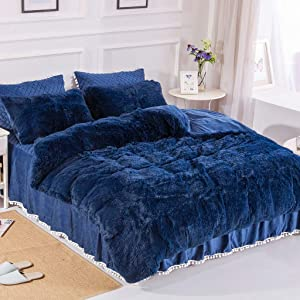 Uhamho Faux Fur Velvet Fluffy Bedding Duvet Cover Set Down Comforter Quilt Cover with Pillow Shams, Ultra Soft Warm and Durable (Queen, Navy)