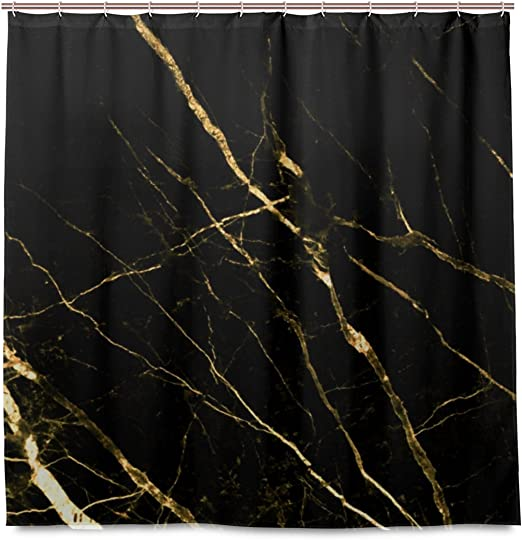 Black Marble Texture Shower Curtain Liner Bathroom Mat Polyester Fabric Hooks