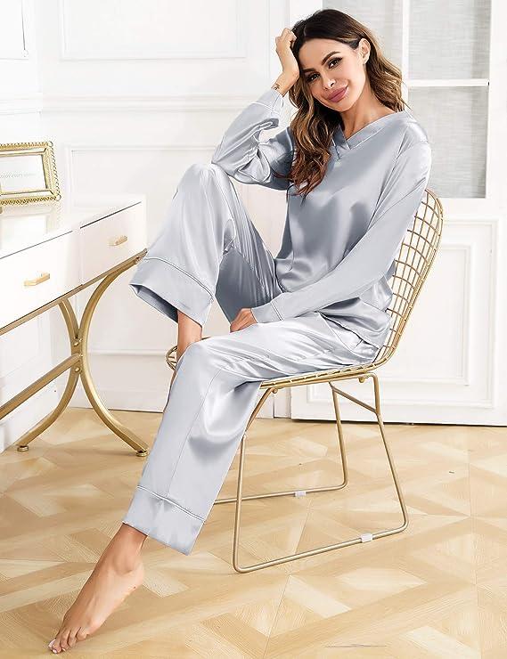 Hawiton Pijama de satén de Seda para Mujer, Cuello en V, Manga Larga, Pijama con Bolsillos