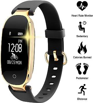 WOWGO Pulsera Monitor de Actividad Pulsómetro y Podómetro para Mujeres Impermeable IP67, con Bluetooth Contador de Pasos y Monitor de Sueño para Smartphones con Android e iOS: iPhone, Samsung: Amazon.es: Deportes y