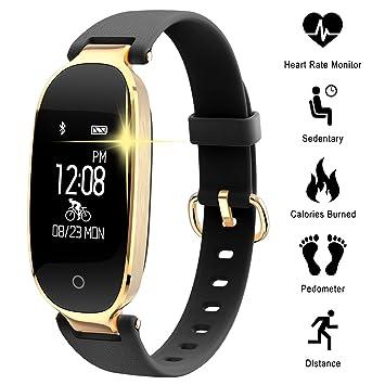 f5a9b7765412 Pulsera Monitor de Actividad Pulsómetro y Podómetro para Mujeres  Impermeable IP67, con Bluetooth Contador de Pasos y Monitor de Sueño para  ...