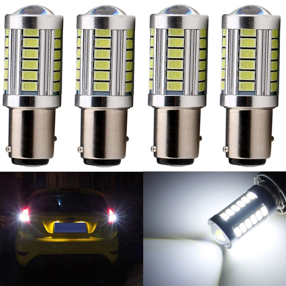 KATUR 2pcs 1157 BAY15D 5630 33-SMD White 900 Lumens 6000K Super Bright LED Turn Tail Brake Stop Signal Light Lamp Bulb 12V 3.6W