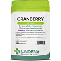 Lindens Cranberry Juice 5000mg Tablets   100 Pack   Easy Way to Work Cranberry Into Your Day, Rich in Polyphenols & Antioxidants, Popular with Women