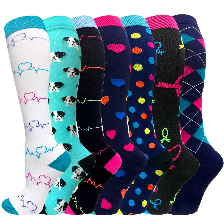 7 Pairs Compression Socks Women & Men -Best Medical,Nursing,Travel & Flight Socks-Running & Fitness-15-20mmHg (Small/Medium, Assorted 2)