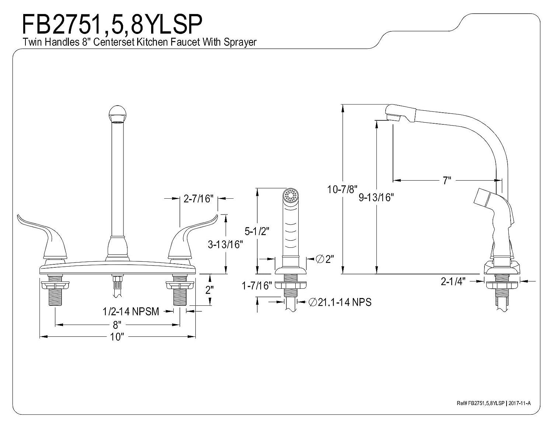 Kingston Brass FB2755YLSP Yosemite 8-inch Centerset Kitchen Faucet Oil Rubbed Bronze