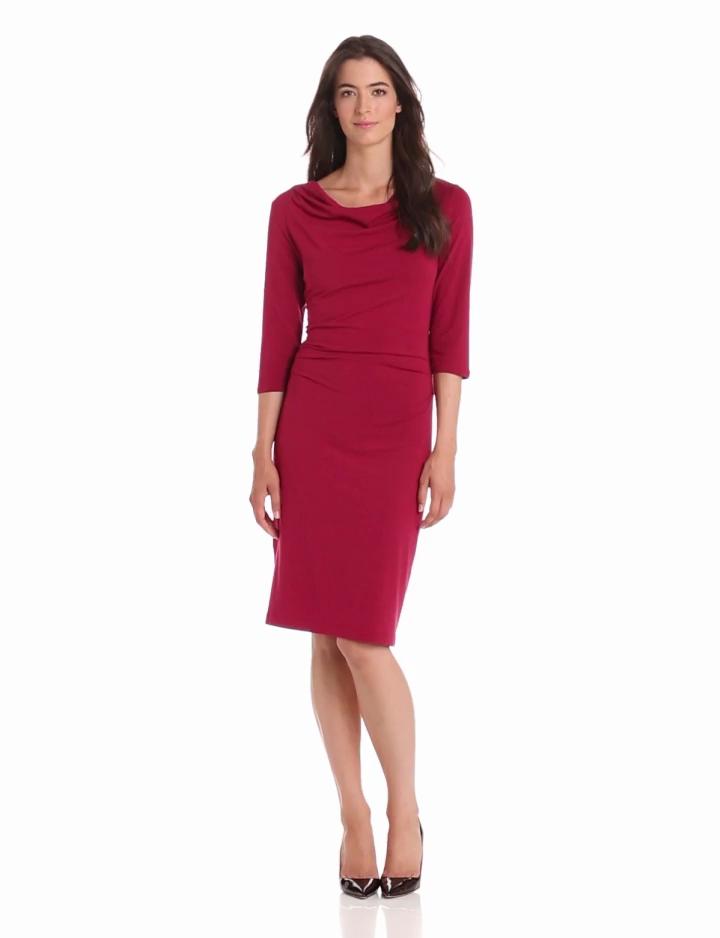 Pendleton Womens Drape Neck Dress, Claret, X Small