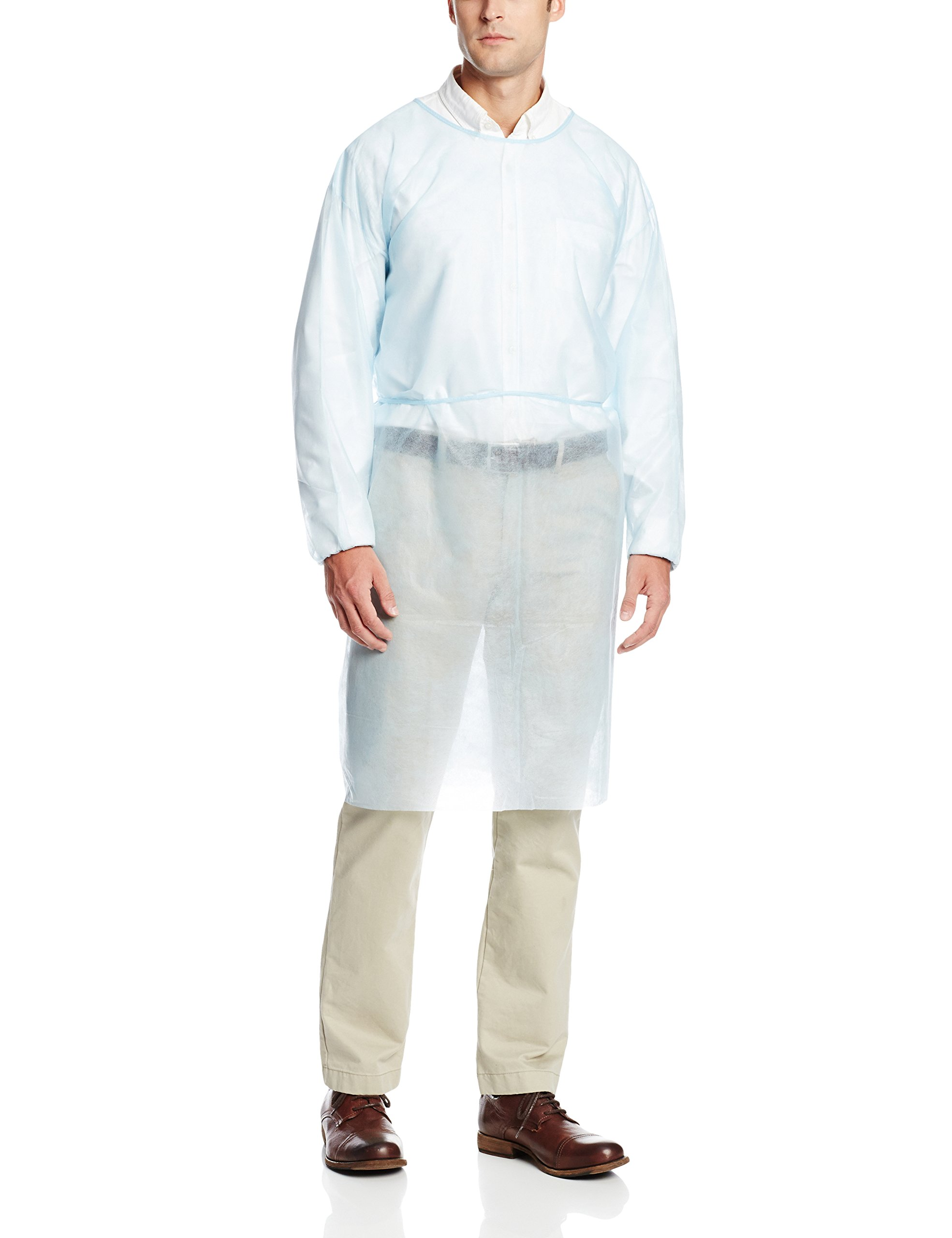 ValuMax 3230B Disposable Isolation Gown, Elastic Cuff, Tie Back, Knee Length, Splash Resistant, Blue, Regular Size, Case of 50