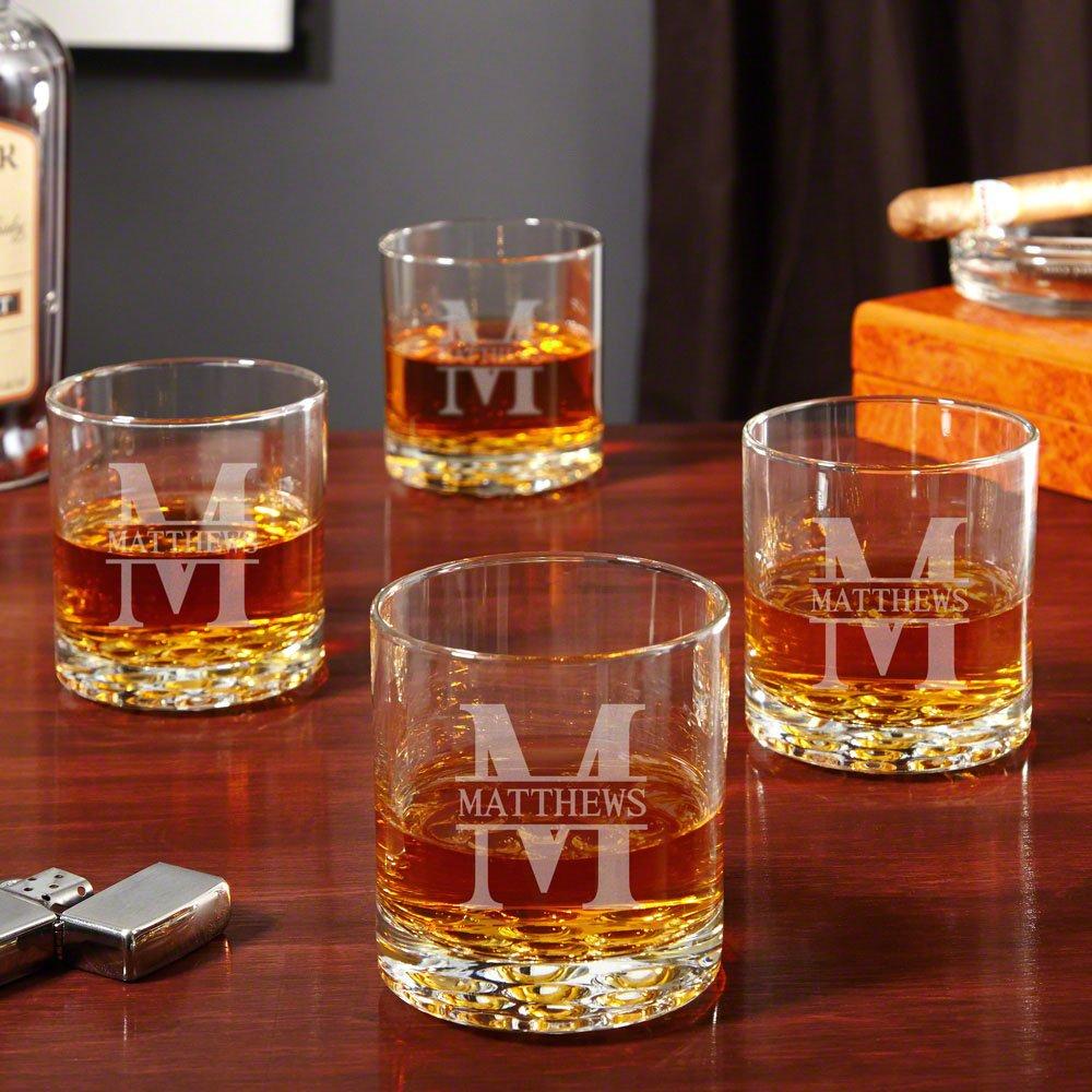 Oakmont Personalized Buckman Whiskey Glasses, Set of 4 (Customizable Product)