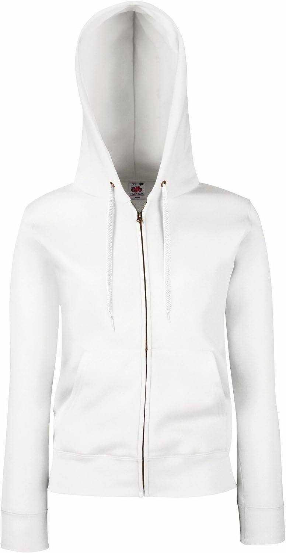 S Blanc Sweatshirt /à Capuche et Fermeture zipp/ée Fruit of the Loom Femme