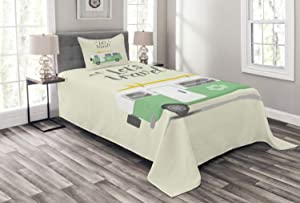 Ambesonne Camper Bedspread, Lets Travel Words with Vintage Hippie Van Surfboard and Flower Motif, Decorative Quilted 2 Piece Coverlet Set with Pillow Sham, Twin Size, Pale Green