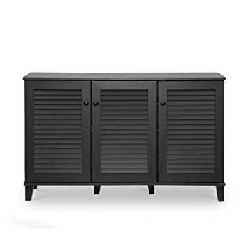 Amazon.com: Baxton Studio Warren Shoe-Storage Cabinet, Espresso ...