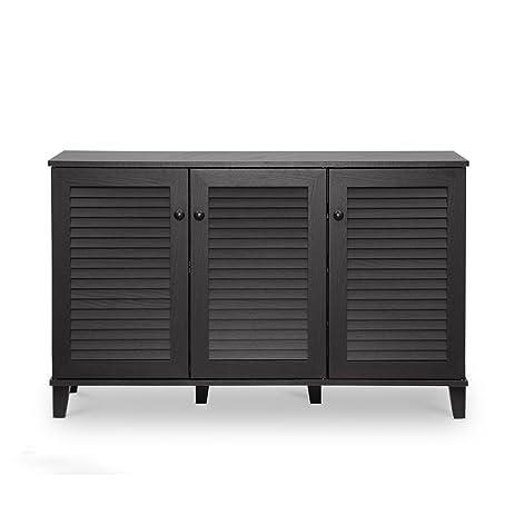 Amazon.com: Baxton Studio Warren Shoe-Storage Cabinet, Espresso ...