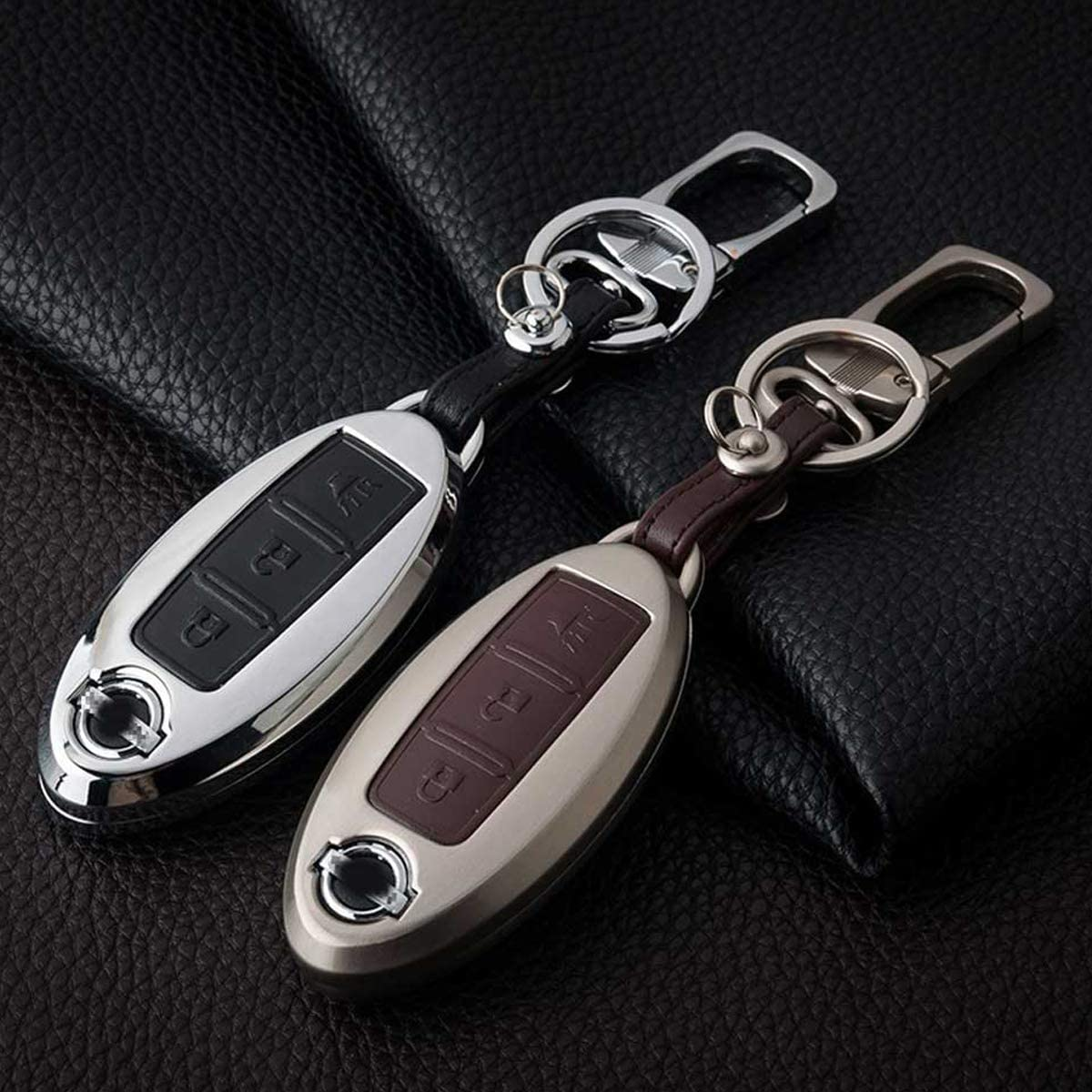 MODIPIM Keyless Entry Remote Case Leather Key Fob Cover Zinc Alloy Key Holder Shell Covers With Key Chain For Nissan Rogue Altima Maxima Qashqai 3 Button Color Black