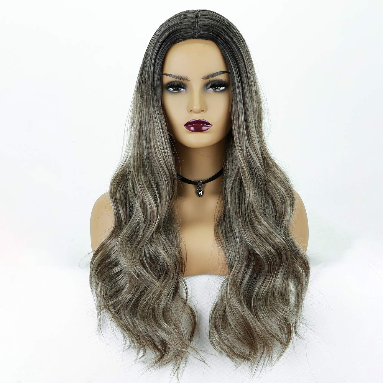 Chantiche Long Ash Brown Wig for Women Glueless Long Wavy Synthetic Wigs Middle Parting Ombre Brown Wig with Dark Roots Heat Resistant