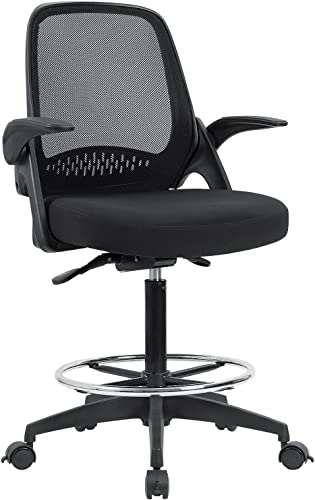 Devoko Drafting Chair Tall Office Chair with Flip-up Armrests Executive Computer Standing Desk Chair with Lockable Wheels and Adjustable Footrest Ring Black