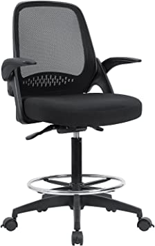 Devoko Drafting Chair Tall Office Chair with Flip-up Armrests - Suitable Back Support