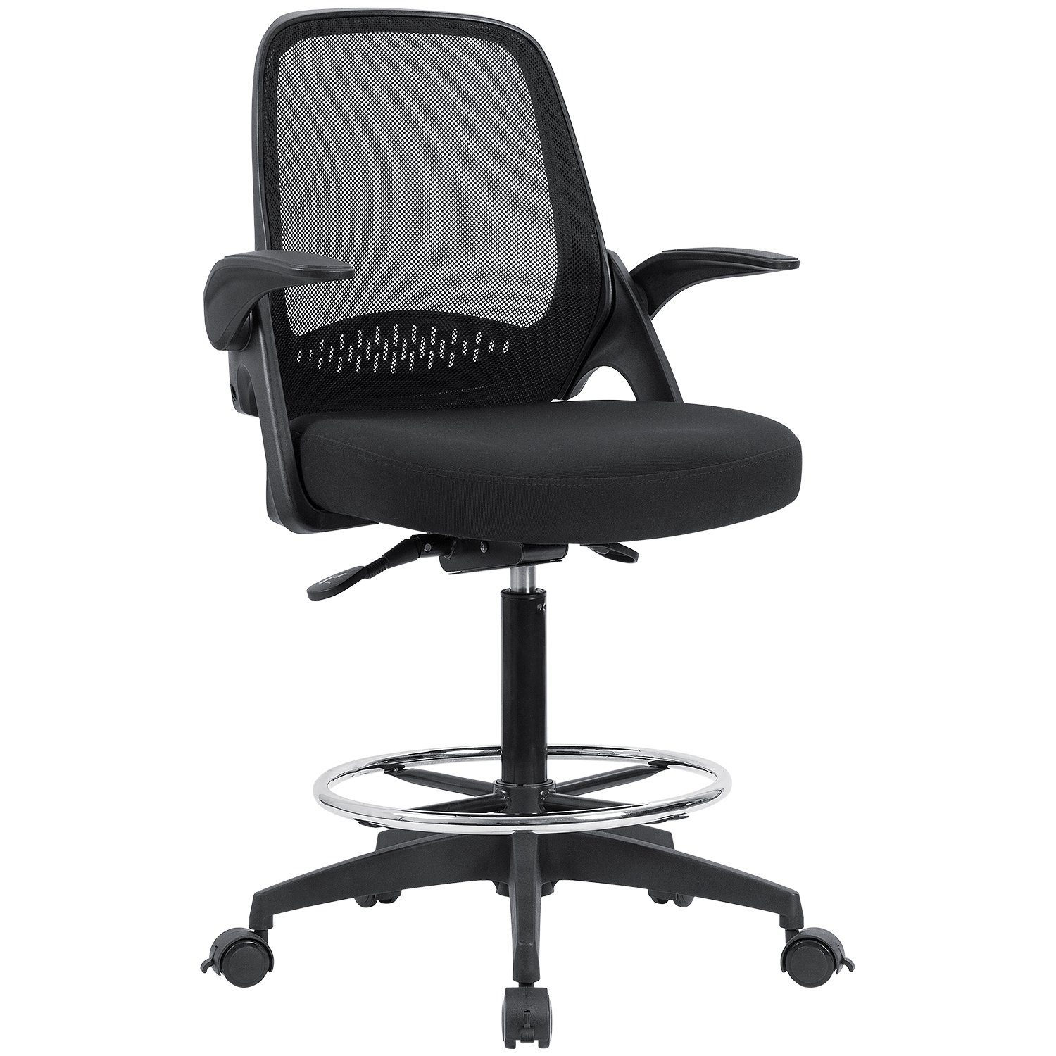 Devoko Mesh Swivel Office Chair Caster Wheel Locable Drafting Chair Flip-up Arms Desk Chair, Standing Function Task Chair with Adjustable Footrest Ring (Black)