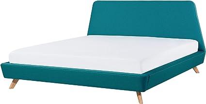 Beliani Cama tapizada Azul Claro con somier 160x200 cm Vienne ...