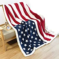 Ukeler Soft Flannel Throw Blanket, Polyester & Polyester Blend, American Flag, 50''x60''