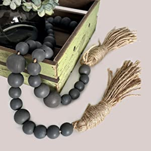 Rmiotte 49.6in Wooden Beads Garland with Tassels, Farmhouse Natural Wood Boho Wooden Beads for Wall Hanging Decor, Tiered Tray, Coffee Table Decor(Gray)