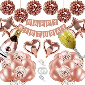Birthday Decorations, Happy Birthday Banner, Metallic Rose Gold Confetti Balloons, Foil Balloons,Tissue Flowers,Girls Women Rose Gold Decorations for 13th 21st 30th 40th 50th Birthday Party Supplies