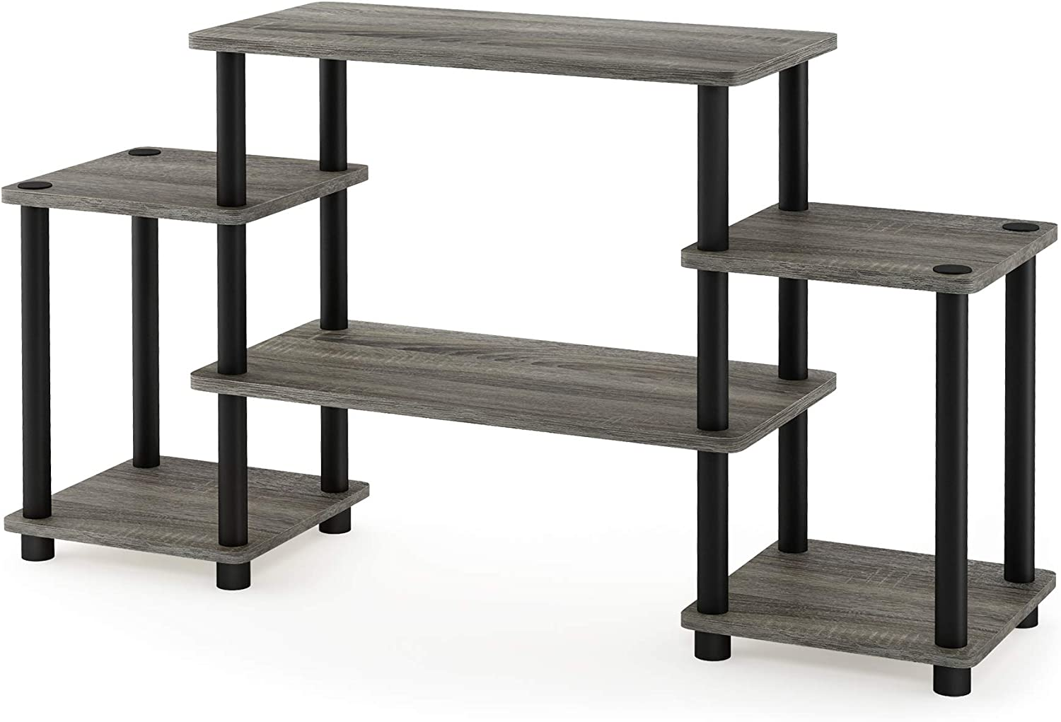 Furinno Turn-N-Tube No Tools Entertainment Center French Oak Grey//Black Round Square Corner
